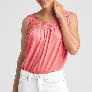 GAP Pink Crochet Detail Top in Linen